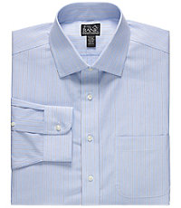 Traveler Tailored Fit Spread Collar Stripe Dress Shirt