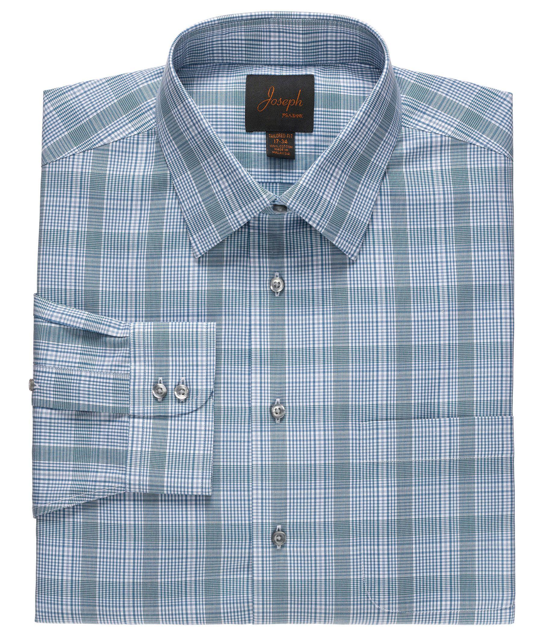 Joseph Spread Collar Cotton Plaid Dress Shir      t