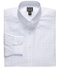 Traveler Tailored Fit Buttondown Collar Grid Dress Shirt