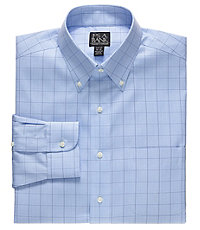 Traveler Slim Fit Buttondown Collar Grid Dress Shirt