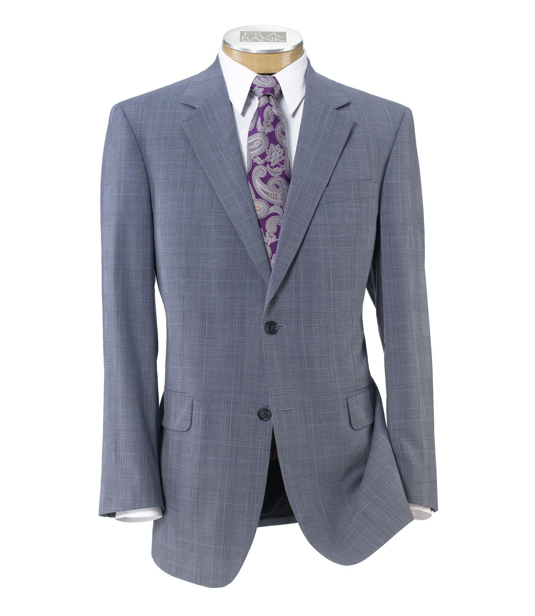 Executive 2-Button Wool Suit with Plain Front Trousers - Blue Glen Plaid w Deco