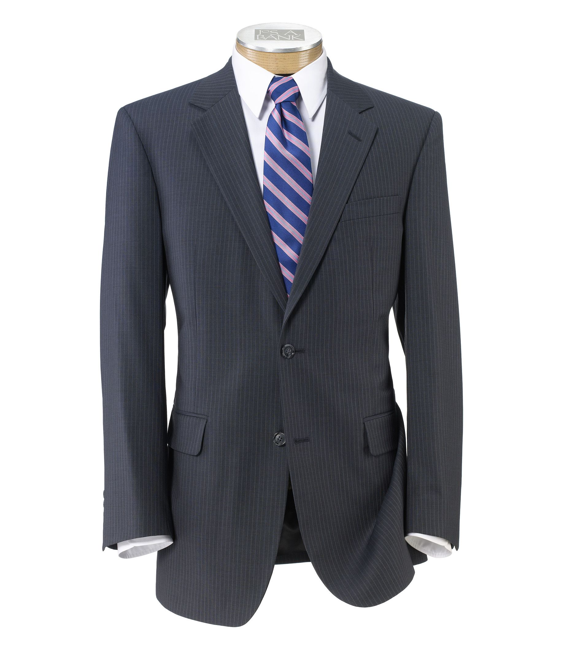 Executive 2-Button Wool Suit with Plain Front Trousers - Blue/Grey w Double Stripe