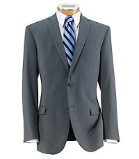 Traveler Slim Fit 2-Button Suits with Plain Front Trousers- Light Grey Cord Stripe