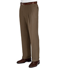 1950s Style Men's Pants Signature Collection Traditional Fit Pleated Front Dress Pants - Big  Tall $220.00 AT vintagedancer.com