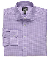 Traveler Tailored Fit Spread Collar Mini Gingham Dress Shirt