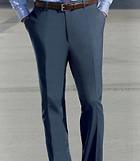 NEW! Signature Tailored Fit Gabardine Wool Plain Front Trousers Extended Sizes
