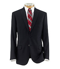 Joseph Slim Fit 2-Button Suits with Plain Front Trousers- Dark Navy Weave Stripe