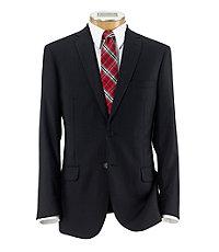Joseph Slim Fit 2-Button Suits with Plain Front Trousers- Dark Navy Weave Stripe