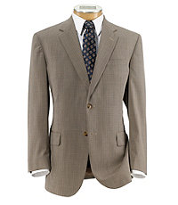 Executive 2-Button Wool Suit with Pleated Trousers - Tan/Brown Checkered