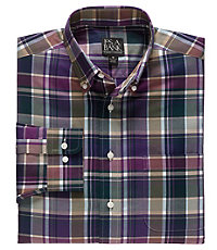 Traveler Tailored Fit Long-Sleeve Button Down Col ar Sportshirt
