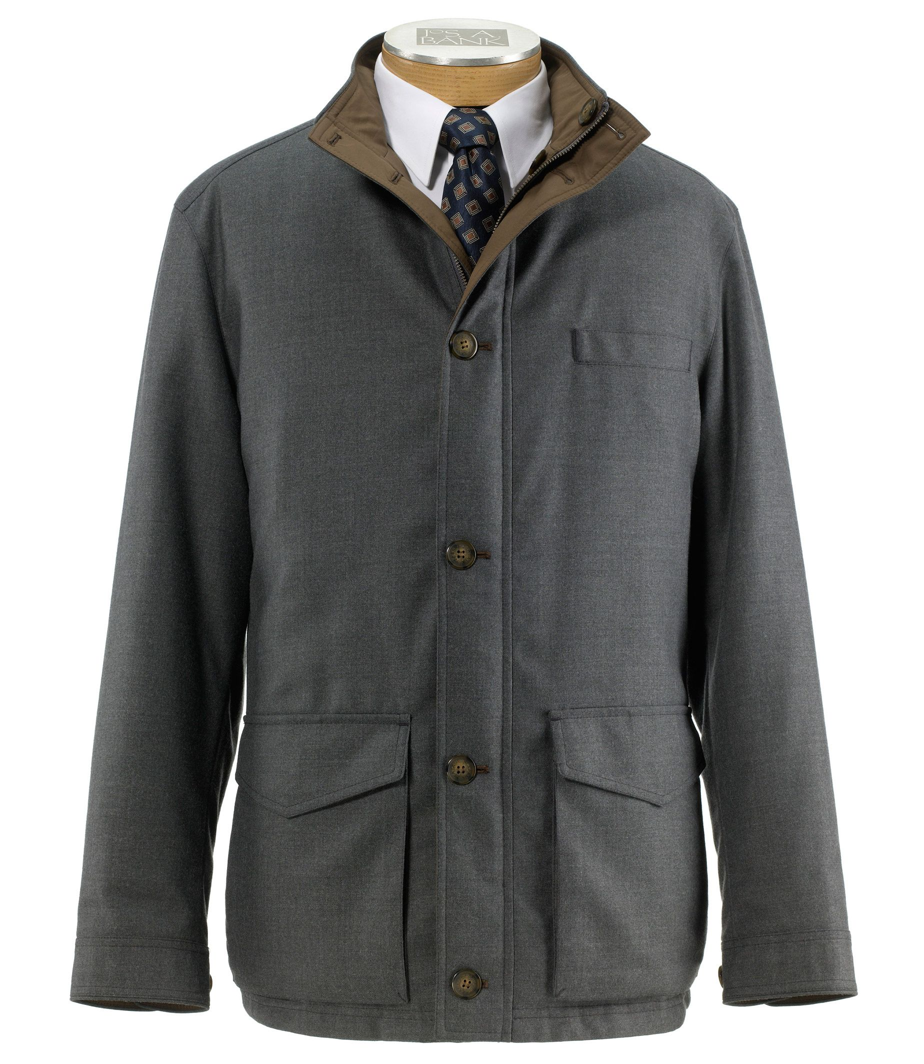 Jos. A. Bank Mens Joseph Reversible Wool Jacket (Grey)