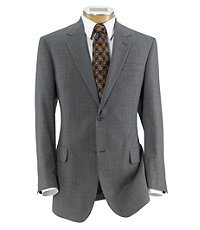 Signature 2-Button Wool Suit with Plain Front Trousers- Light Grey Mixweave