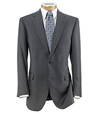 Signature 2-Button Wool Pattern Suit with Pleated Trousers Extended Sizes