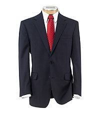 Executive 2-Button Wool Suit with Plain Front Trousers - Navy Checkered w Windowpane