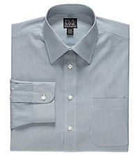 Executive Tailored Fit Spread Collar Thin Stripe Dress Shirt