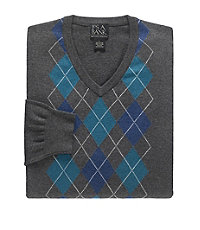 Cotton Mens Sweater Argyle V-Neck CLEARANCE - Small Charcoal $39.98 AT vintagedancer.com