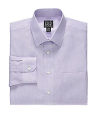 Traveler Slim Fit Spread Collar Stripe Dress Shirt