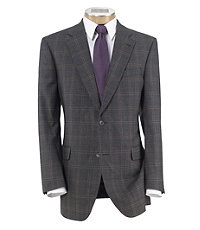 Signature 2-Button Tailored Fit Sharkskin Windowpane Sportscoat