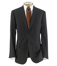 Joseph Slim Fit 2 Button Plain Front Wool Suit- Charcoal Herringbone Rust