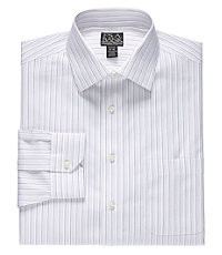 Signature Spread Collar Barrel Cuff Tailored Fit Triple Stripe Dress Shirt