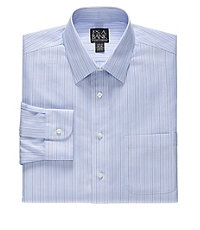 Traveler Slim Fit Spread Collar Stripe Dress Shirt                             F