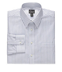 Traveler Tailored Fit Point Collar Multi Stripe Dress Shirt