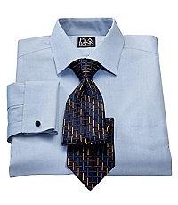 Traveler Slim Fit Long-Sleeve Spread Collar French Cuff Dress Shirt