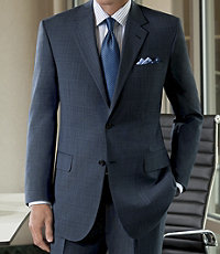 Signature 2-Button Wool Suit with Plain Front Trousers- Blue Plaid