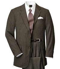 Executive 2-Button Wool/Cashmere Suit with Plain Front Trousers - Tan Checkered