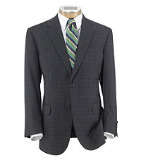 Traveler Tailored Fit 2-Button Suit with Plain Front Trousers- Grey Sharkskin w Blue
