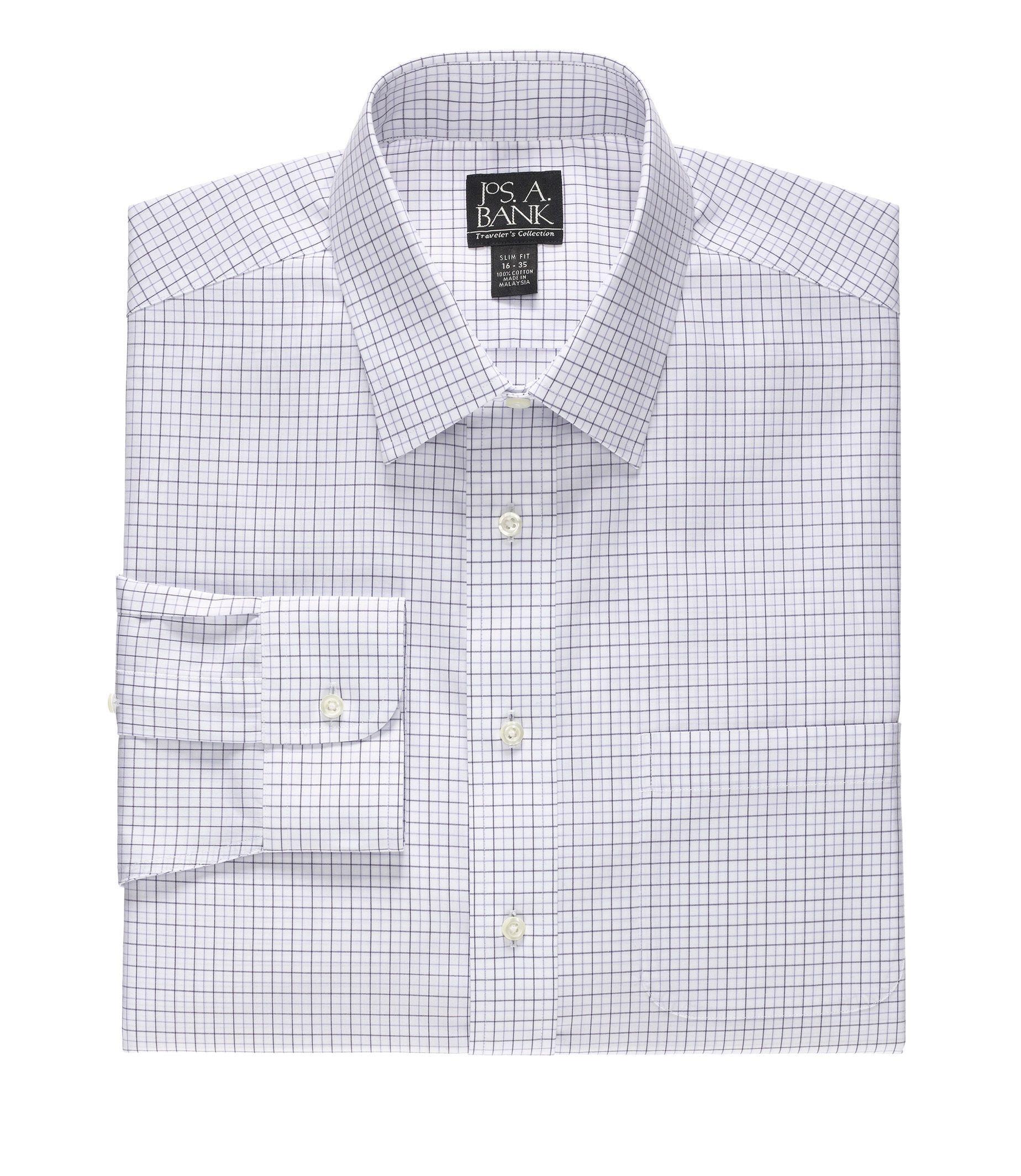 Traveler's Slim Fit Spread Collar Grid Dress Shirt                             F