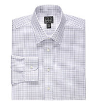 Traveler's Slim Fit Spread Collar Grid Dress Shirt                             F