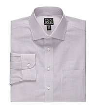 Traveler Tailored Fit Spread Collar Check Dress Shirt