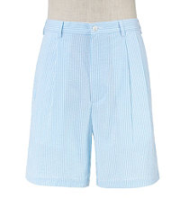 Stays Cool Cotton Pleated Seersucker Shorts Extended Sizes