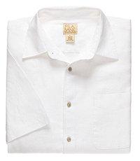 VIP Linen Point Collar Short-Sleeve Solid Sportshirt