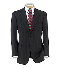 Signature 2-Button Wool Suit With Plain Front Trousers- Grey Stripe
