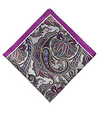 Four Color Paisley Pocket Square