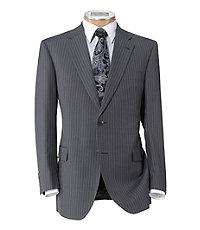 Signature Imperial Wool/Silk Suit with Plain Front Trousers- Grey Plain Weavestripe