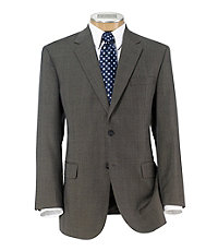Executive 2-Button Wool Suit with Pleat Front Trousers- Taupe/Brown Plaid