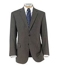 Executive 2-Button Wool Suit with Pleat Front Trousers Extended Sizes