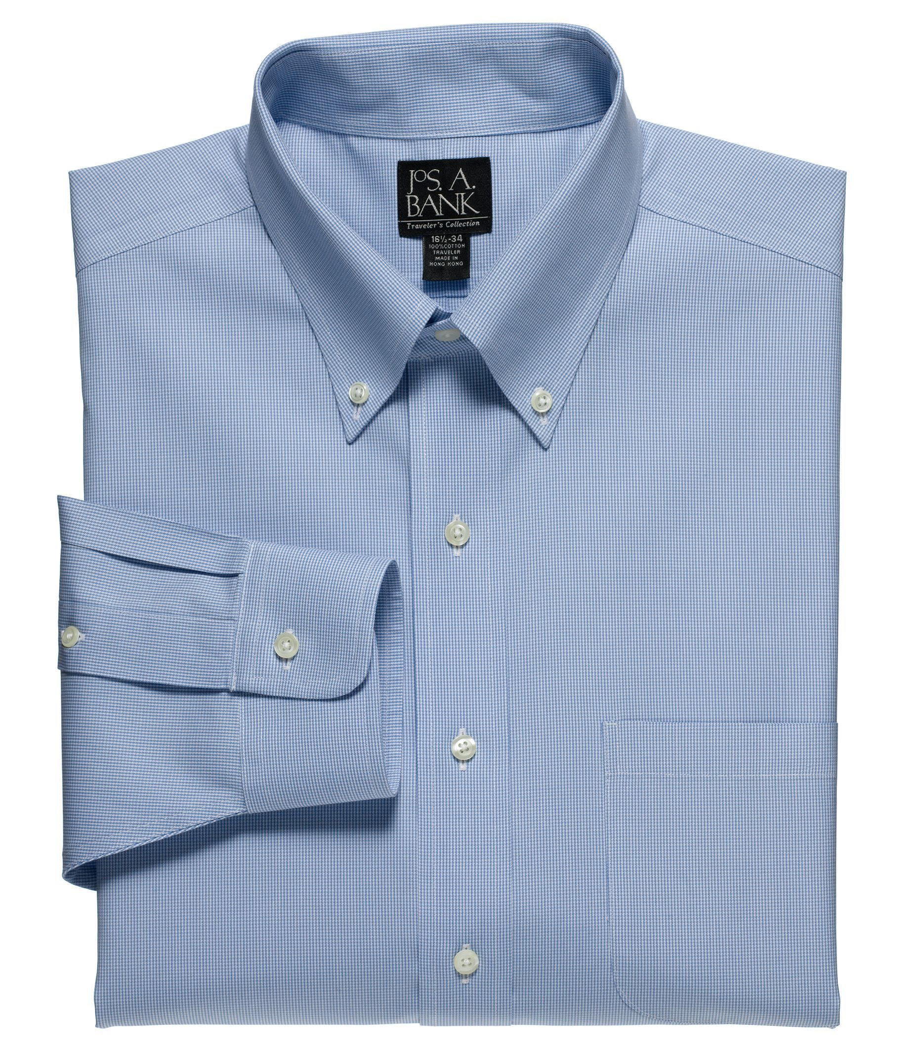 Traveler Wrinkle Free Slim Fit Buttondown Collar Dress Shirt.
