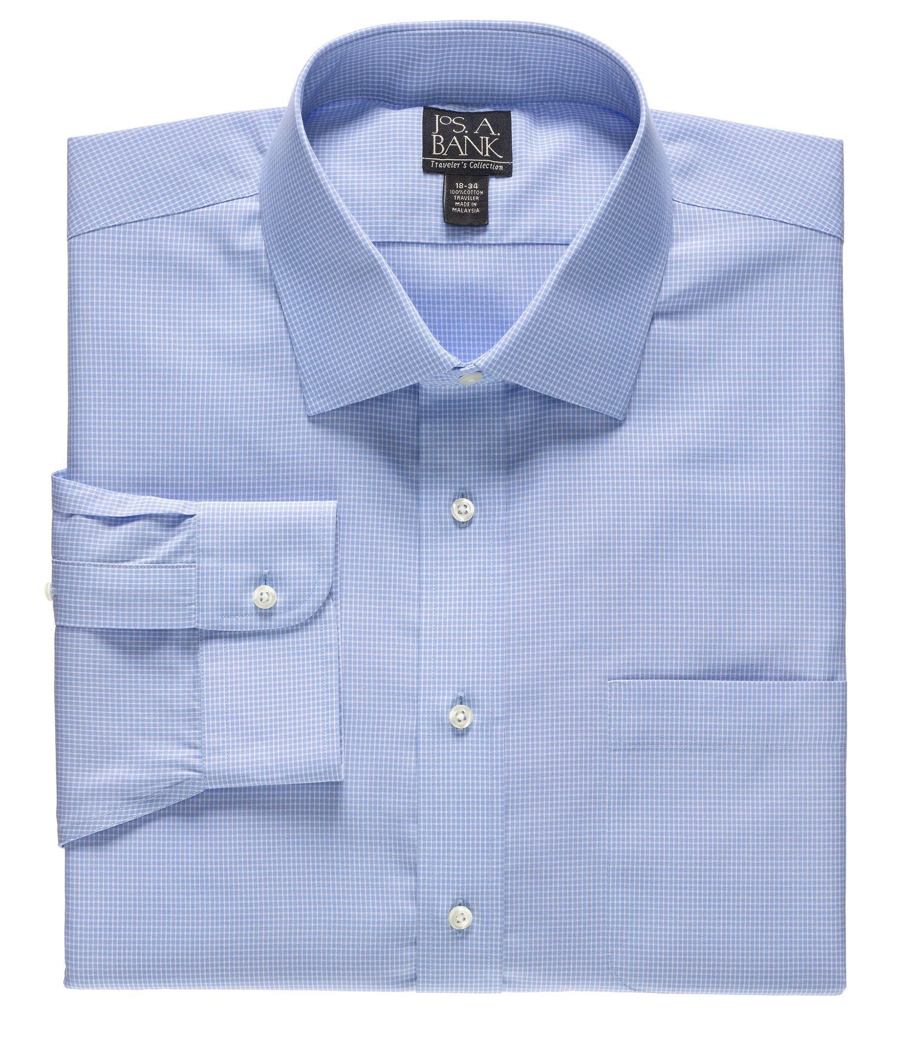 Traveler Wrinkle Free Slim Fit Point Collor Dress Shirt