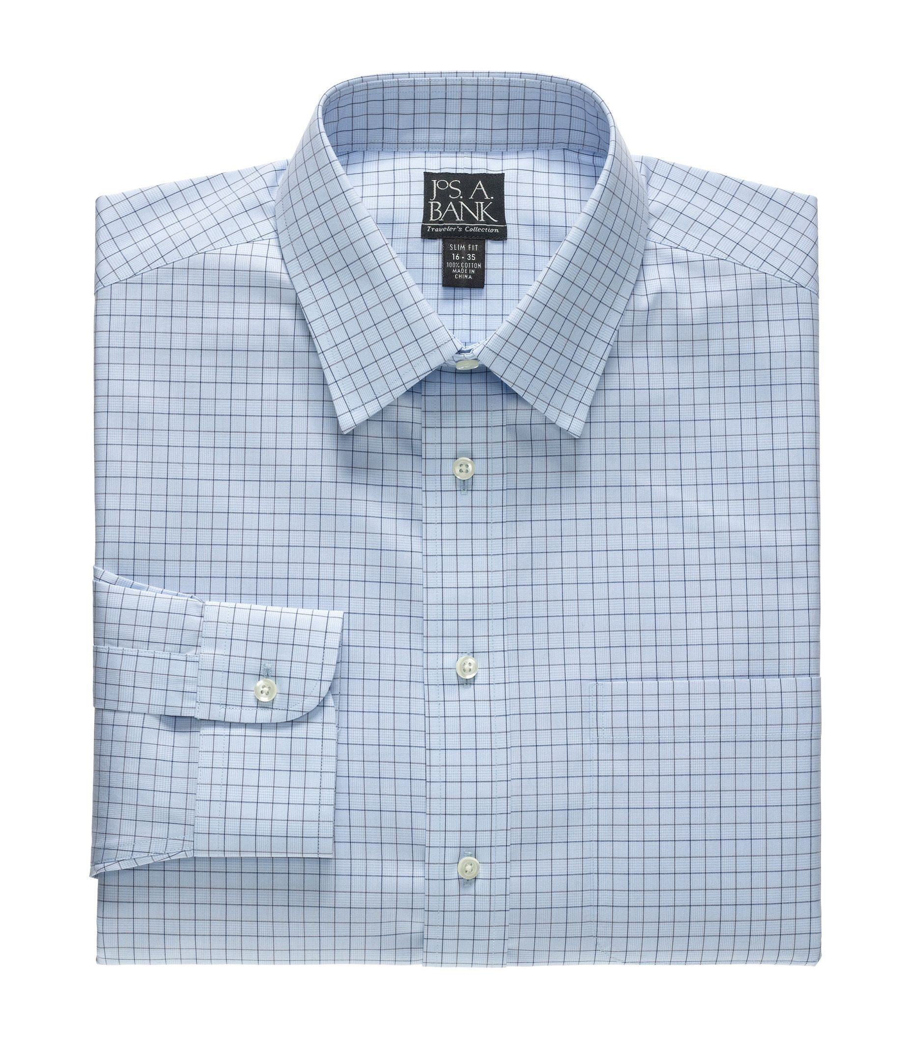 Traveler Wrinkle Free Slim Fit Spread Collor Dress Shirt