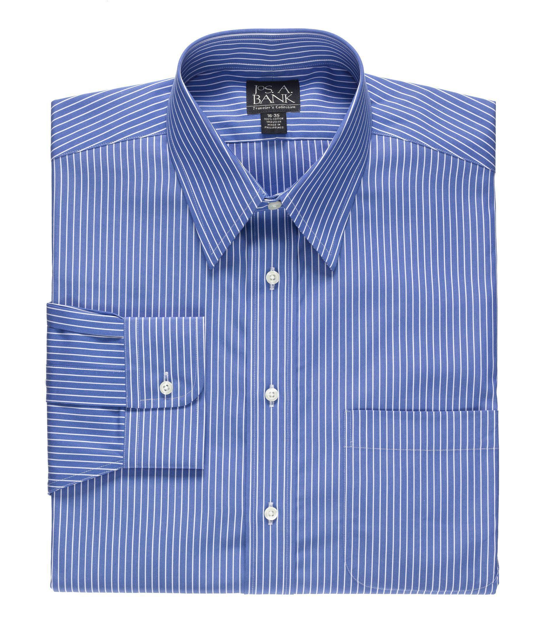 Traveler Wrinkle Free Slim Fit Point Collar Dress Shirt