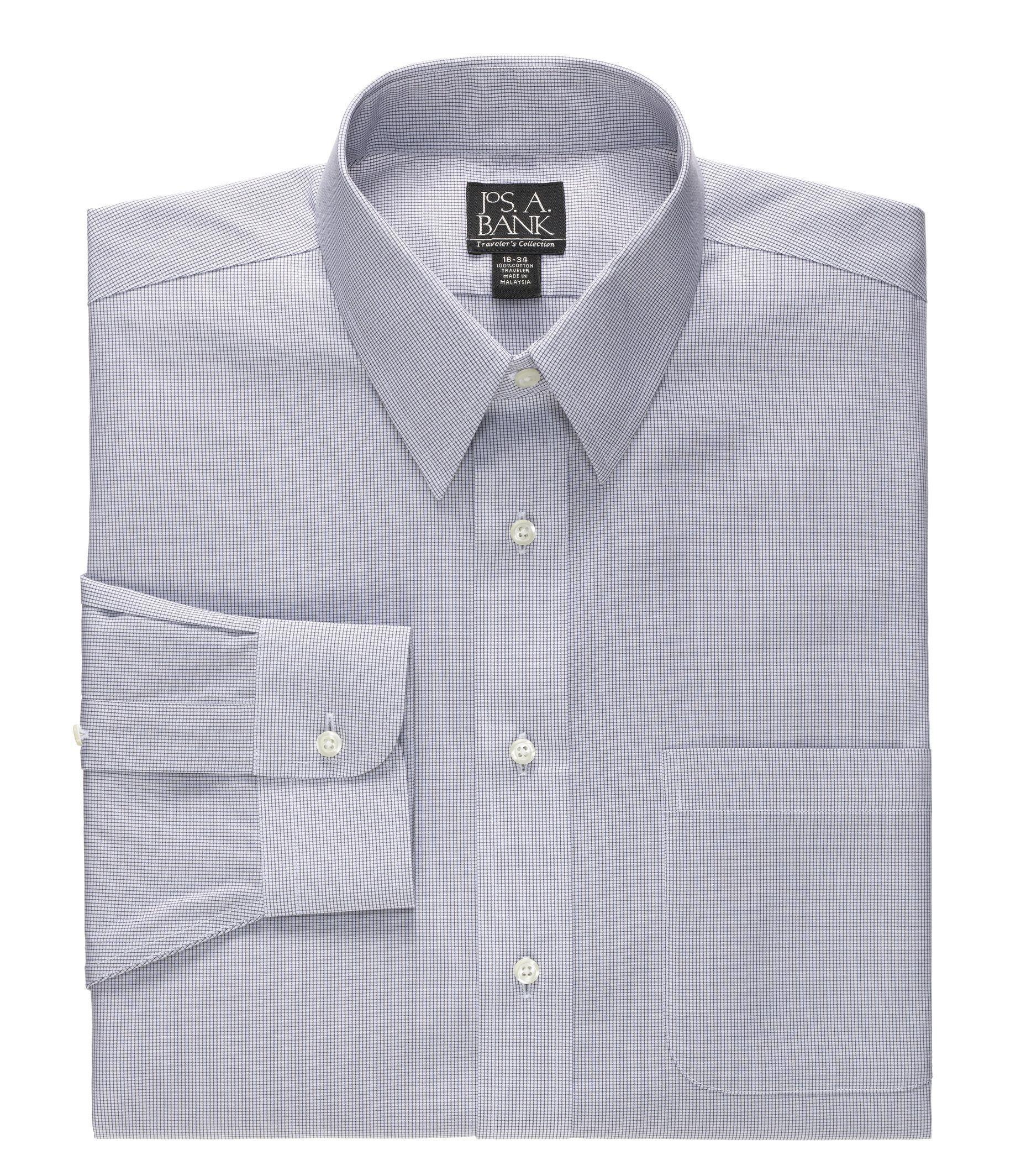 Traveler Slim Fit Long-Sleeve Point Collar Dress  Shirt                        L