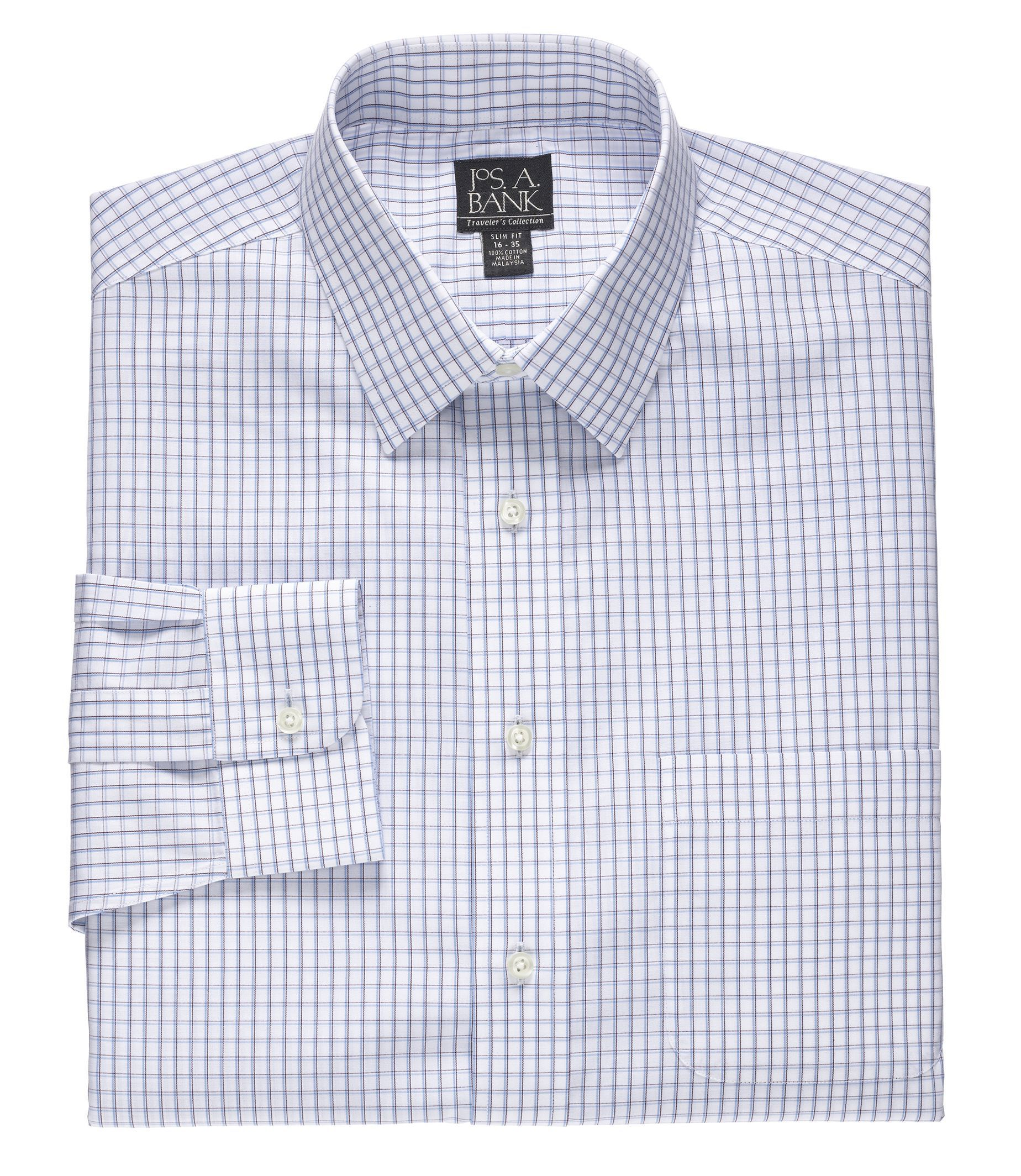Traveler Big and Tall Patterned Point Collar Dress Shirt