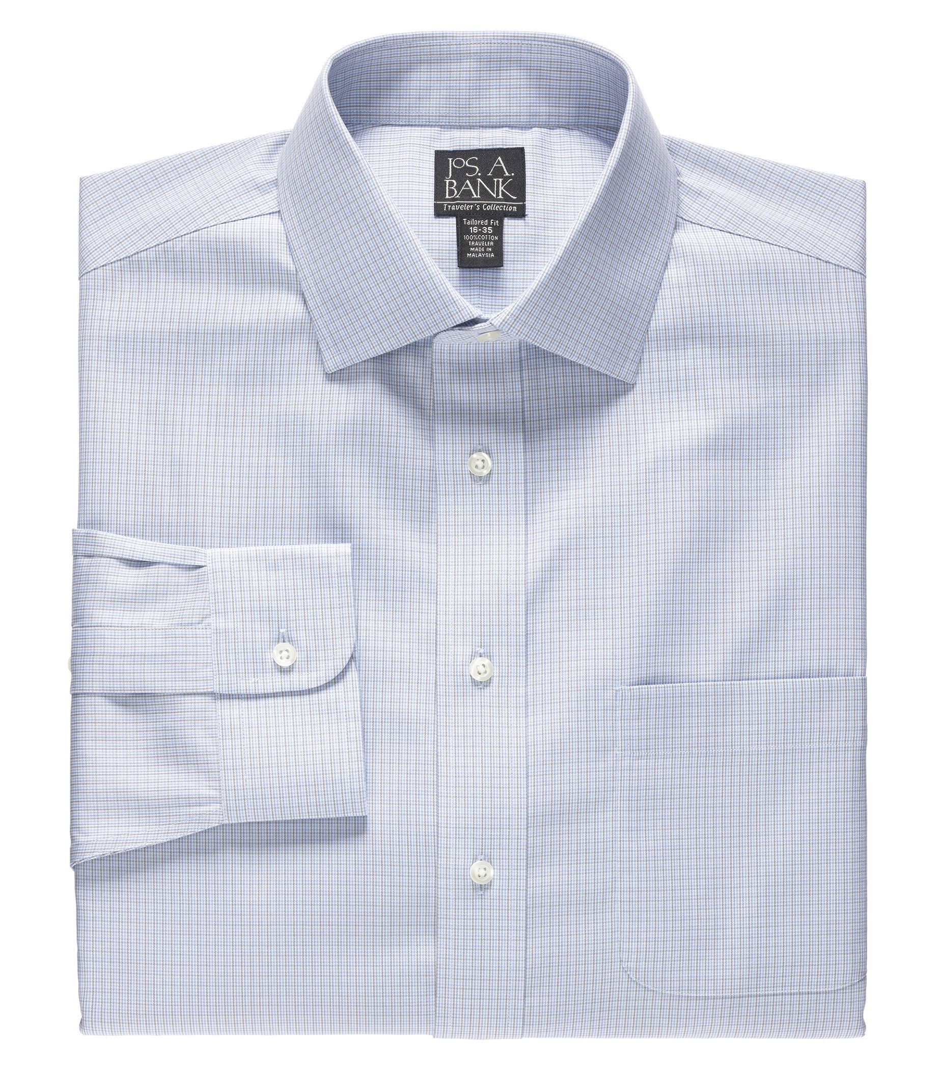 Traveler Big and Tall Patterned Spread Collar Dress Shirt