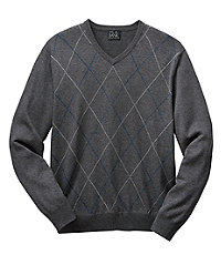 Subtly Tonal Argyle Cotton Vneck Holiday Sweater