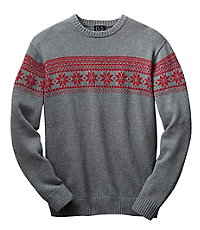 Chest Stripe Snow Flake Cotton Holiday Sweater.