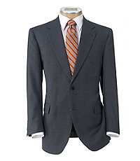 Signature 2-Button Wool Suit with Plain Front Trousers Extended Sizes